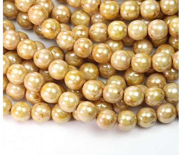 Opaque Cream Luster Picasso Czech Glass Beads, 8mm Round