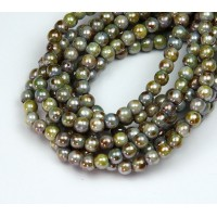Opaque Green Luster Czech Glass Beads, 4mm Round
