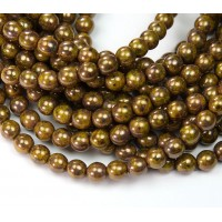 Yellow Bronze Picasso Czech Glass Beads, 6mm Round