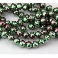 Peacock Pearl Czech Glass Beads, 8mm Snail Shell