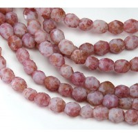 Pink Marbled Stone Picasso Czech Glass Beads, 6mm Faceted Round
