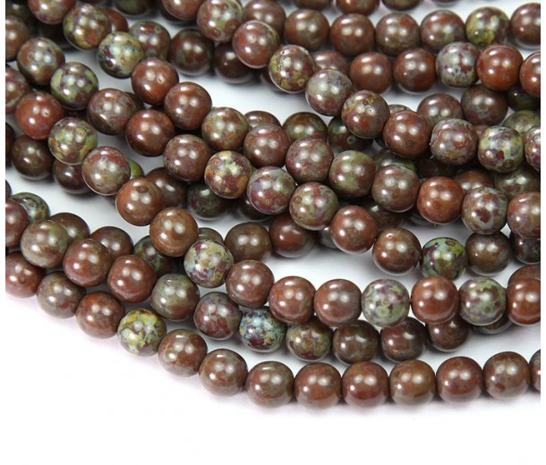 Brown Caramel Picasso Czech Glass Beads, 6mm Round