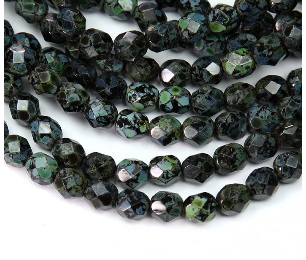 Jet Picasso Czech Glass Beads, 6mm Faceted Round