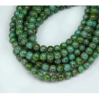 Opaque Turquoise Picasso Czech Glass Beads, 4mm Round