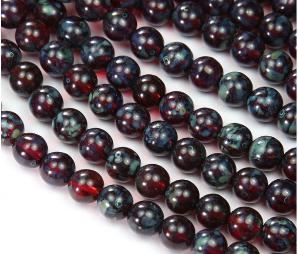 Ruby Red Picasso Czech Glass Beads, 8mm Round