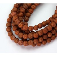 Coral Stone Picasso Czech Glass Beads, 6mm Round