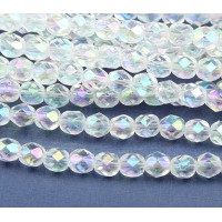 Crystal Double AB Czech Glass Beads, 6mm Faceted Round