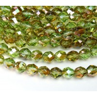 Chrysolite Celsian Czech Glass Beads, 8mm Faceted Round