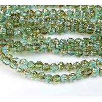 Aquamarine Celsian Czech Glass Beads, 5mm Melon Round
