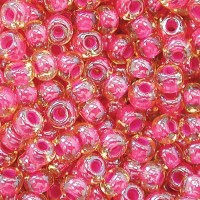 6/0 Czech Round Rocaille Seed Beads, Red Lined Topaz Yellow, 20 Gram Bag