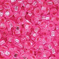 8/0 Czech Round Rocaille Seed Beads, Silver Lined Hot Pink, Sold by 12-String Hank