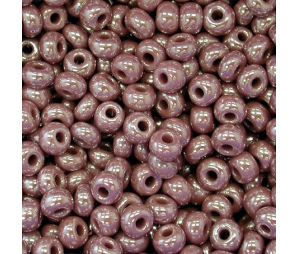 8/0 Czech Round Rocaille Seed Beads, Opaque Brown Luster, Sold by 12-String Hank