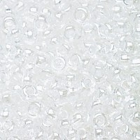 8/0 Czech Round Rocaille Seed Beads, Crystal Luster, Sold by 12-String Hank