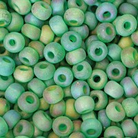 8/0 Czech Round Rocaille Seed Beads, Matte Rainbow Emerald, Sold by 12-String Hank