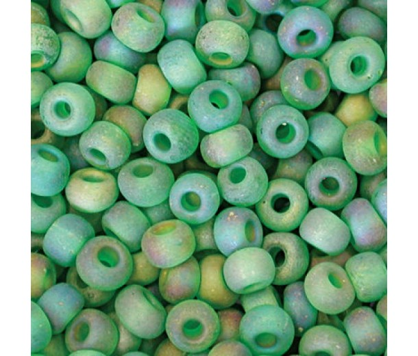 8/0 Czech Round Rocaille Seed Beads, Matte Rainbow Emerald, Sold by 74 Gram Hank