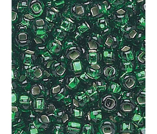 8/0 Czech Round Rocaille Seed Beads, Silver Lined Emerald, Sold by 12-String Hank