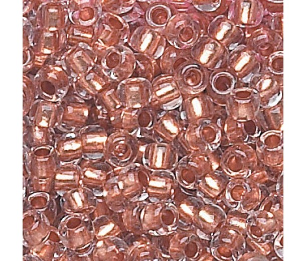 6/0 Czech Round Rocaille Seed Beads, Copper Lined Crystal, Sold by 6-String Hank