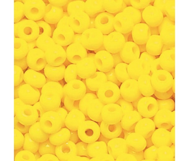 6/0 Czech Round Rocaille Seed Beads, Opaque Dark Yellow, Sold by 6-String Hank