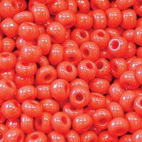 6/0 Czech Round Rocaille Seed Beads, Opaque Cherry Red, 20 Gram Bag