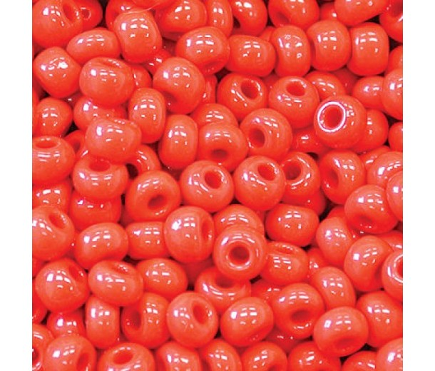 8/0 Czech Round Rocaille Seed Beads, Opaque Cherry Red, Sold by 12-String Hank