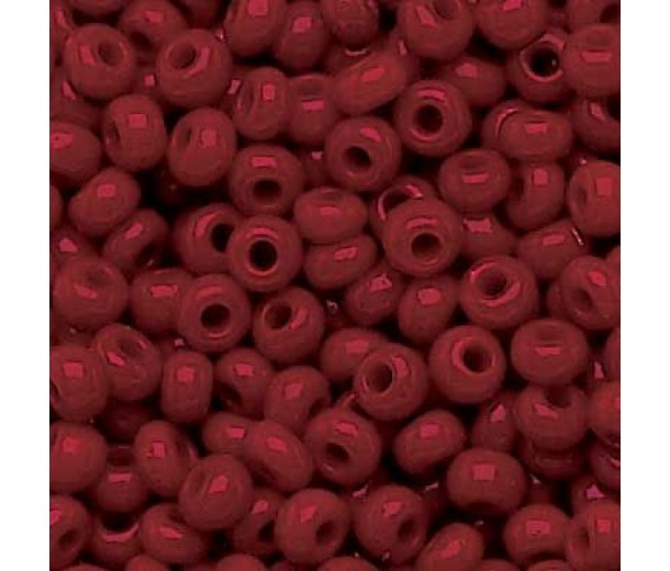 6/0 Czech Round Rocaille Seed Beads, Opaque Dark Red Luster, 20 Gram Bag