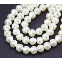 Snow White Pearl Czech Glass Beads, 8mm Baroque Round