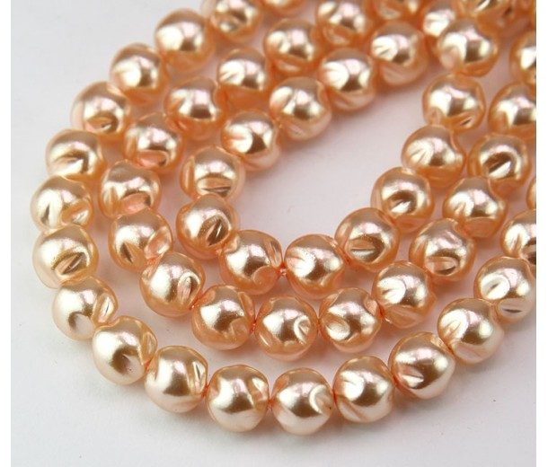 Peach Pearl Czech Glass Beads, 8mm Baroque Round, Pack of 25