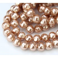 Old Rose Pearl Czech Glass Beads, 8mm Baroque Round, Pack of 25