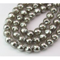 Silver Pearl Czech Glass Beads, 8mm Baroque Round, Pack of 25