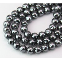 Hematite Pearl Czech Glass Beads, 8mm Baroque Round, Pack of 25