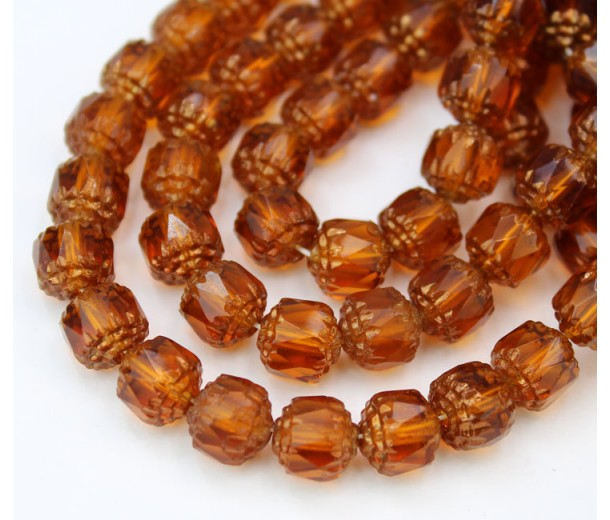 Topaz Brown Picasso Czech Glass Beads, 8mm Renaissance