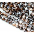 Brown and White Czech Glass Beads, 8mm Faceted Round
