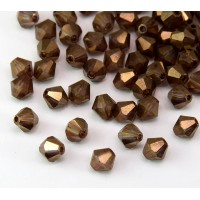 Smoked Topaz Luster Czech Crystal Beads, 6mm Faceted Bicone, Pack of 20