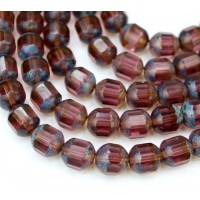 Amethyst Picasso Czech Glass Beads, 10mm Renaissance