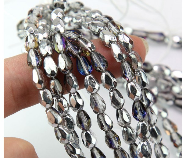 Silver, Blue and Crystal Czech Glass Beads, 7x5mm Faceted Teardrop, Pack of 25