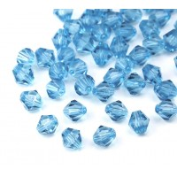 Ice Blue Czech Crystal Beads, 6mm Faceted Bicone, Pack of 20