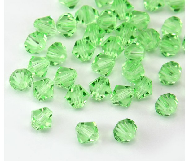 Chrysolite Green Czech Crystal Beads, 6mm Faceted Bicone, Pack of 20