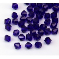 Cobalt Blue Czech Crystal Beads, 6mm Faceted Bicone, Pack of 20