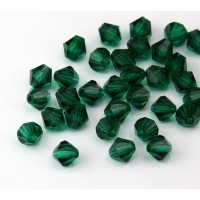Emerald Czech Crystal Beads, 6mm Faceted Bicone