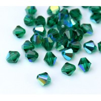 Emerald AB Czech Crystal Beads, 6mm Faceted Bicone, Pack of 20