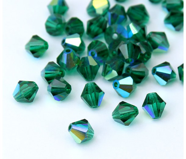 Emerald AB Czech Crystal Beads, 6mm Faceted Bicone