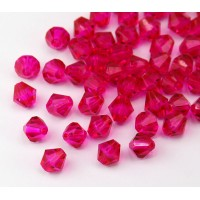 Fuchsia Czech Crystal Beads, 6mm Faceted Bicone