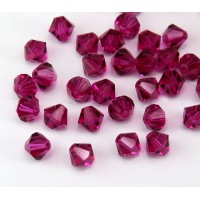 Dark Pink Czech Crystal Beads, 6mm Faceted Bicone
