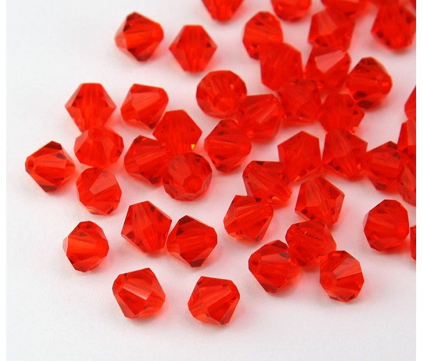 Hyacinth Czech Crystal Beads, 6mm Faceted Bicone, Pack of 20