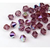 Light Amethyst AB Czech Crystal Beads, 6mm Faceted Bicone