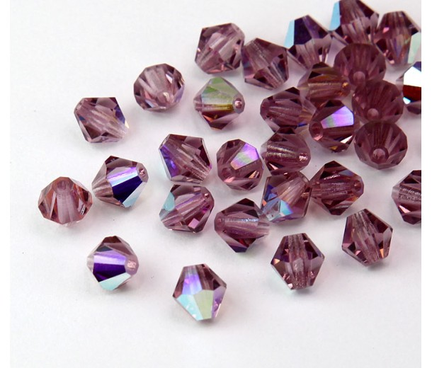 Light Amethyst AB Czech Crystal Beads, 6mm Faceted Bicone, Pack of 20