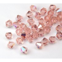 Light Rosaline AB Czech Crystal Beads, 6mm Faceted Bicone, Pack of 20