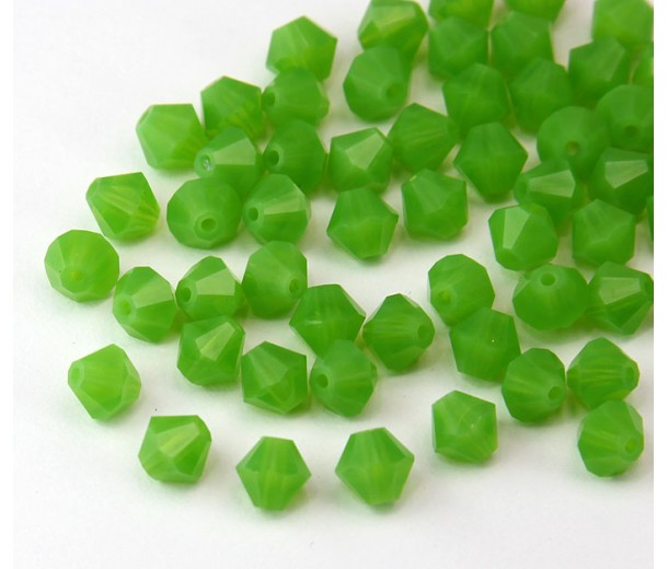Milky Green Czech Crystal Beads, 6mm Faceted Bicone, Pack of 20