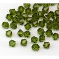 Olivine Czech Crystal Beads by Preciosa, 4mm Faceted Bicone, Pack of 30
