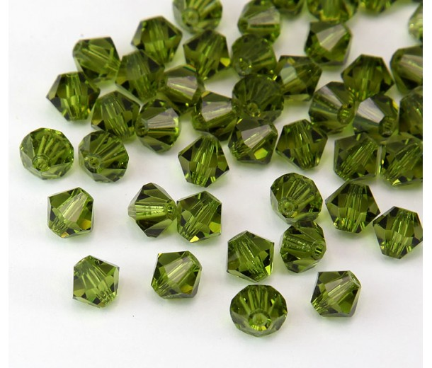 Olivine Czech Crystal Beads by Preciosa, 6mm Faceted Bicone, Pack of 18